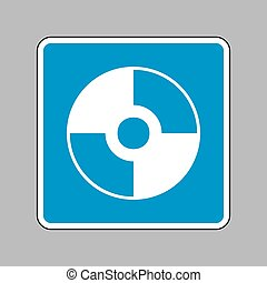Vector CD or DVD sign. White icon on blue sign as...