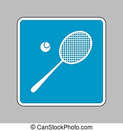 Tennis racquet sign. White icon on blue sign as background.