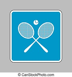 Tennis racket sign. White icon on blue sign as background.