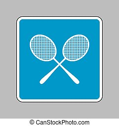 Tennis racquets sign. White icon on blue sign as background.