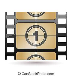 película, ícone, contagem regressiva