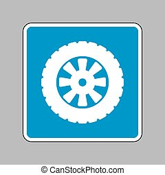 Road tire sign. White icon on blue sign as background.