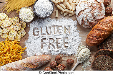 Gluten free food. Various pasta, bread, snacks and flour on...