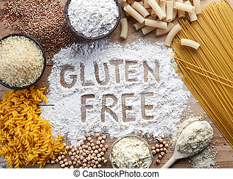 Gluten free food. Various pasta and flour (rice, buckwheat,...
