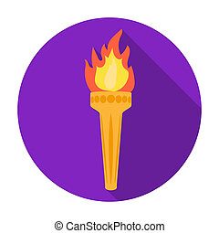 Olympic torch icon in flat style isolated on white...