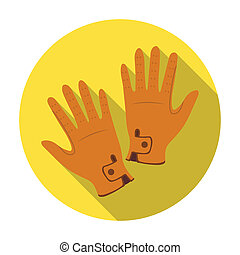 Jockey's gloves icon in flat style isolated on white...