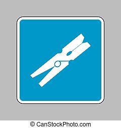 Clothes peg sign. White icon on blue sign as background.