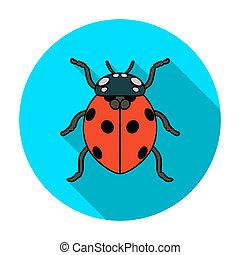 Ladybug icon in flat style isolated on white background....