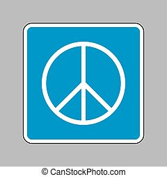 Peace sign illustration. White icon on blue sign as...