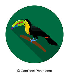 Mexican keel-billed toucan icon in flat style isolated on...