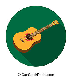 Mexican acoustic guitar icon in flat style isolated on white background. Mexico country symbol stock rastr illustration.