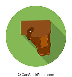 Army handgun holster icon in flat style isolated on white...