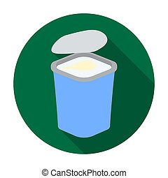 Yogurt in the plastic cup icon in flat style isolated on...