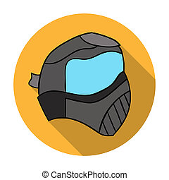 Paintball mask icon in flat style isolated on white...