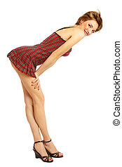 Pin-up girl - Beautiful slim young smiling girl in stylish...