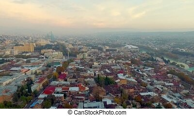 Centre of Tbilisi, Georgia, topview - Busy Tbilisi city...