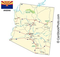 arizona road map with flag