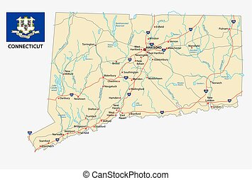 connecticut road map with flag