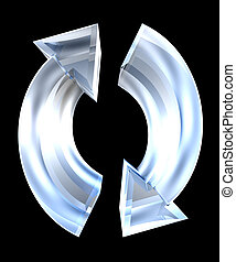 arrows symbol in glass - 3D