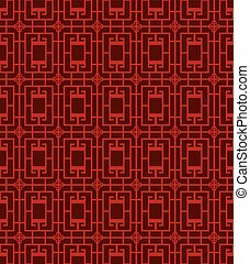 Seamless Chinese window tracery square cross pattern background.