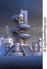 Futuristic architecture - 3D Illustration of futuristic city...