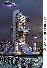 Futuristic architecture - 3D Illustration of futuristic...