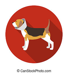 Dog with elizabethan collar icon in flat style isolated on...