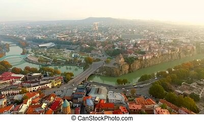 Old and modern buildings of Tbilisi, aerial - Interesting...