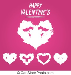 Happy Valentine's postcard Rorschach test style. Detailed...