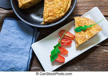 Spanish food omelette - Spanish potato omelette in the...