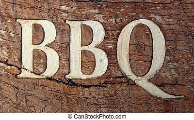 Barbecue - BBQ on a rustic wooden board