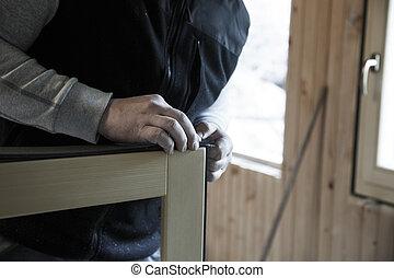 janelas, trabalhador, madeira, Preparar, instalar, Novo