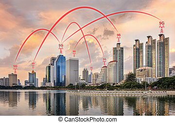 5G Network Connection Concept Illustrated by Smart City and...
