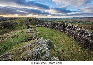 Hadrian's Wall, Northumberland - Hadrian's Wall high up on...