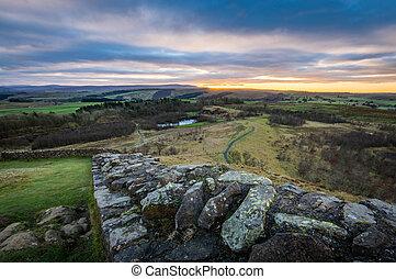 Hadrian's Wall, Northumberland - Hadrian's Wall looking west...