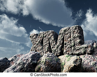 xml rock under cloudy sky - 3d rendering