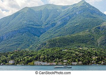 Scenic landscape of mountain Lake Como