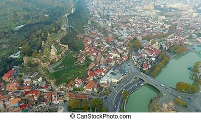 Tbilisi overlooking Narikala fortress and Sioni church,...
