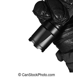 Gloved Hand Holding Tactical Flashlight, Bright Light...