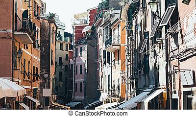 Beautiful narrow street in Vernazza, Italy