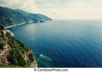 Beautiful seascape view of ligurian sea, Italy.