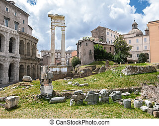 Archeological ruins in historic center in Rome, Italy