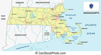 massachusetts road map with flag