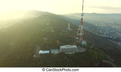 TV tower in Mtatsminda at sunrise, Georgia, topview - TV...