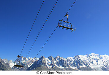 Chair lifts upon Mont-Blanc mountain, France