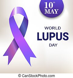 World Lupus Day. Purple Ribbon. Vector illustration