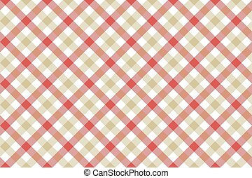 Red beige check diagonal fabric texture background seamless...