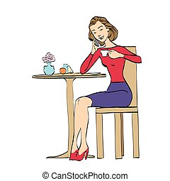 Beautiful woman in cafe drinking coffee. Vector cartoon...