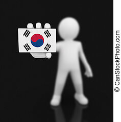 Man and South Korean flag. Image with clipping path