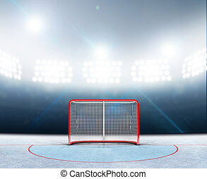Ice Hockey Goals In Stadium - A 3D render of an ice hockey...